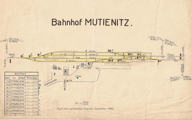 výkres stanice Mutěnice z roku 1942