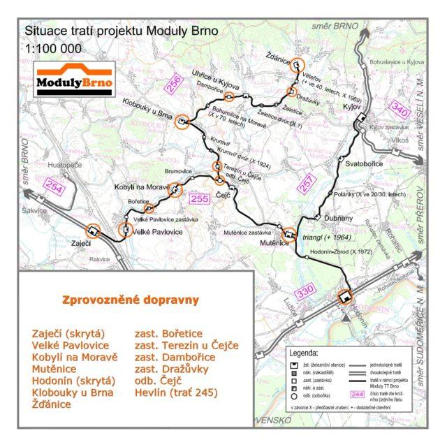 Moduly Brno - mapa 2016